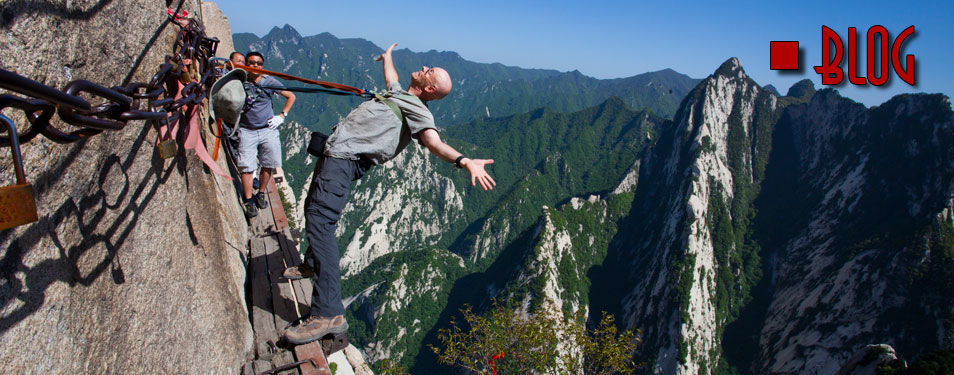 Hanging off cliff face in China (blog title)